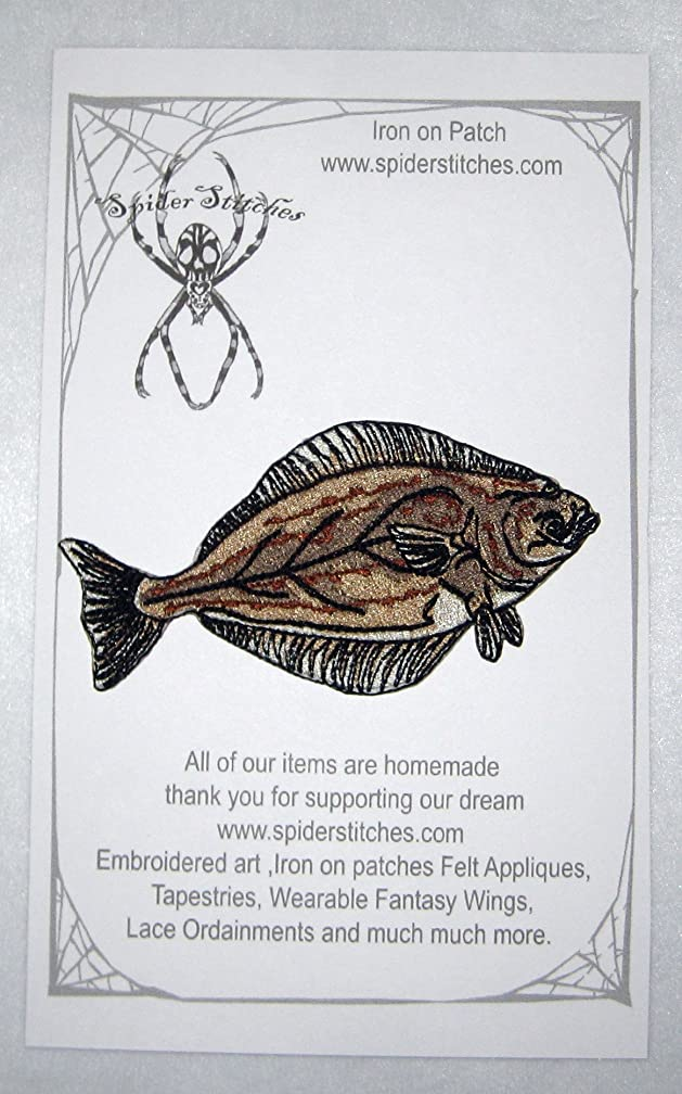 Pacific Halibut Fish Hippoglossus Stenolepis Iron on Patch Applique