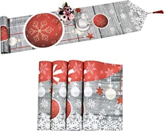Smurfs Yingda Merry Christmas Table Runner with 4 Placemats Colorful Ball Snowflake Table Runner with Tassels Waterproof Table Mats Set for Xmas Decoration, Dinner Parties, Gift