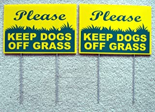 2 Pcs Lavish Unique Please Keep Dogs Grass Warning Signs Outdoor Yard Sign Lawn Fence Property Decor Post Tools Neighbor Holder Hanger House Trespassing Printed Pole Size 8