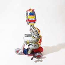 Circus Elephant Reproduction Lithograph Wind Up Tin Toy - Working Riding Tricycle Clockwork Spinning Propeller - Vintage 80s US Zone