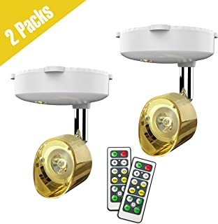 Wireless Spotlight, Battery Operated Accent Lights Art Lights for Paintings Mini Led Picture Light Puck Lights Wall Light with Rotatable Lights Head, 4000k Warm Light, 80 Lumens (Gold)