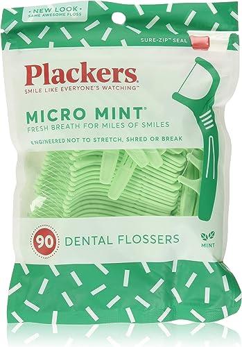 PLACKERS Micro Mint Freshens Breath, Dental Flossers Mint 90 Each