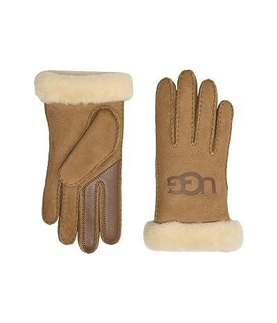 UGG Water Resistant Sheepskin Logo Gloves (Chestnut) Extreme Cold Weather Gloves