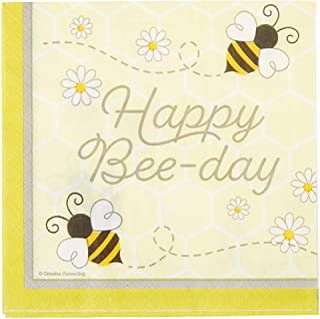 Creative Converting Bumblebee Baby Happy Birthday Napkins, 6.5-Inch Size, Multicolour