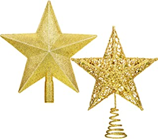 Gejoy 2 Pieces Gold Star Tree Topper Glitter Christmas Tree Topper Star Treetop for Christmas Tree Decoration Home Festival Ornament (8 Inches)
