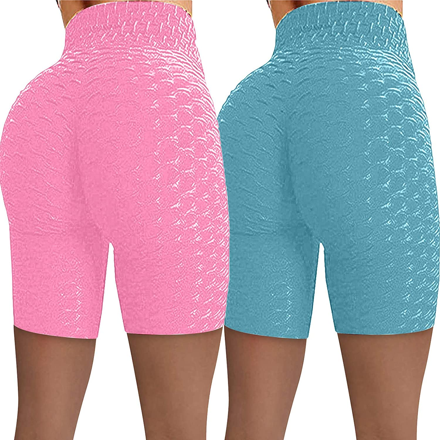 2 Pack Running Shorts for Women,Women's High Waisted Yoga Shorts Sports Gym Ruched Butt Lifting Workout Hot Leggings