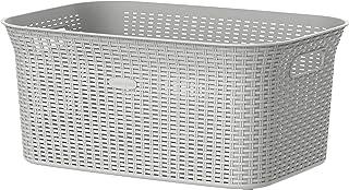 Cosmoplast Plastic Rattan Wicker Laundry Basket 50L, Off White, IFHHLA377OW