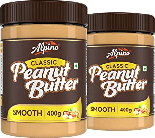 Alpino Classic Peanut Butter Smooth 800 G   Made with Roasted Peanuts   25% Protein   Non GMO   Gluten Free   Vegan   400 ...