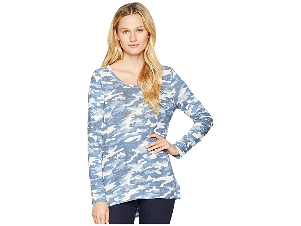 Tribal Long Sleeve Top with Back Knot Detail (Denim) Women's Long Sleeve Pullover