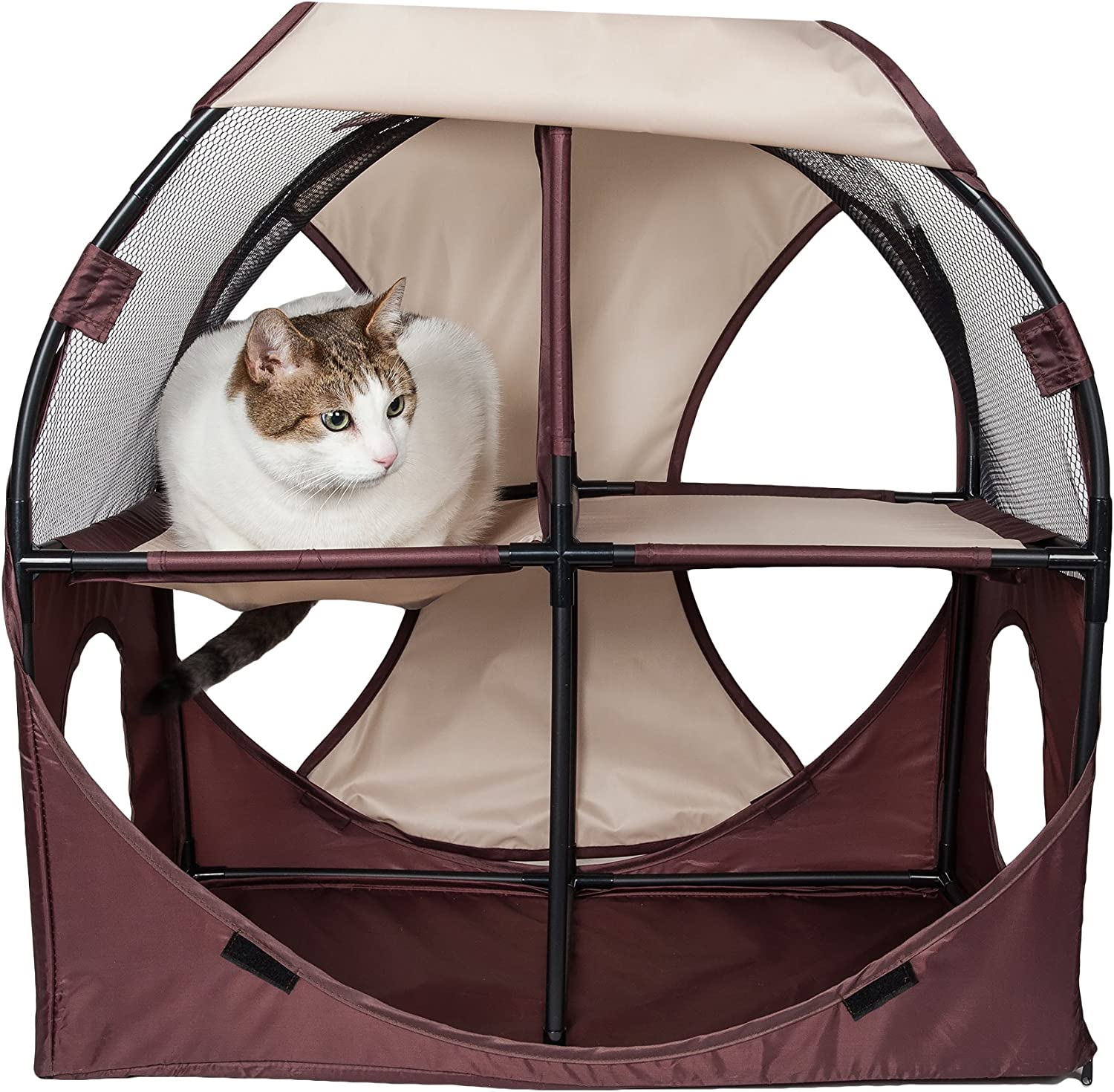 PET LIFE 'KittyPlay' Collapsible Travel Interactive Kitty Cat Tree Maze House Lounger Tunnel Lounge, One Size, Brown and Khaki