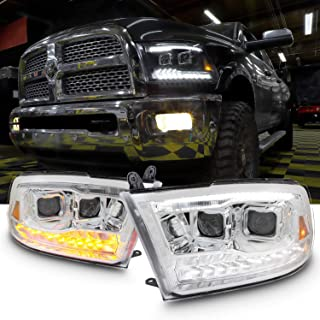 [Factory Upgrade] For 09-18 Dodge Ram 1500 2500 3500 Dual Projector LED DRL Headlights With Light bulbs