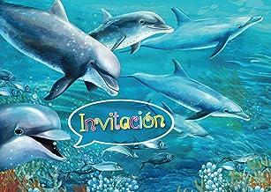 """Edition Colibri 10 Invitaciones en español """"Delfines"""": Juego de 10 Invitaciones para el cumpleaños Infantil / Fiesta en la Piscina / natación (10690 ES)"""