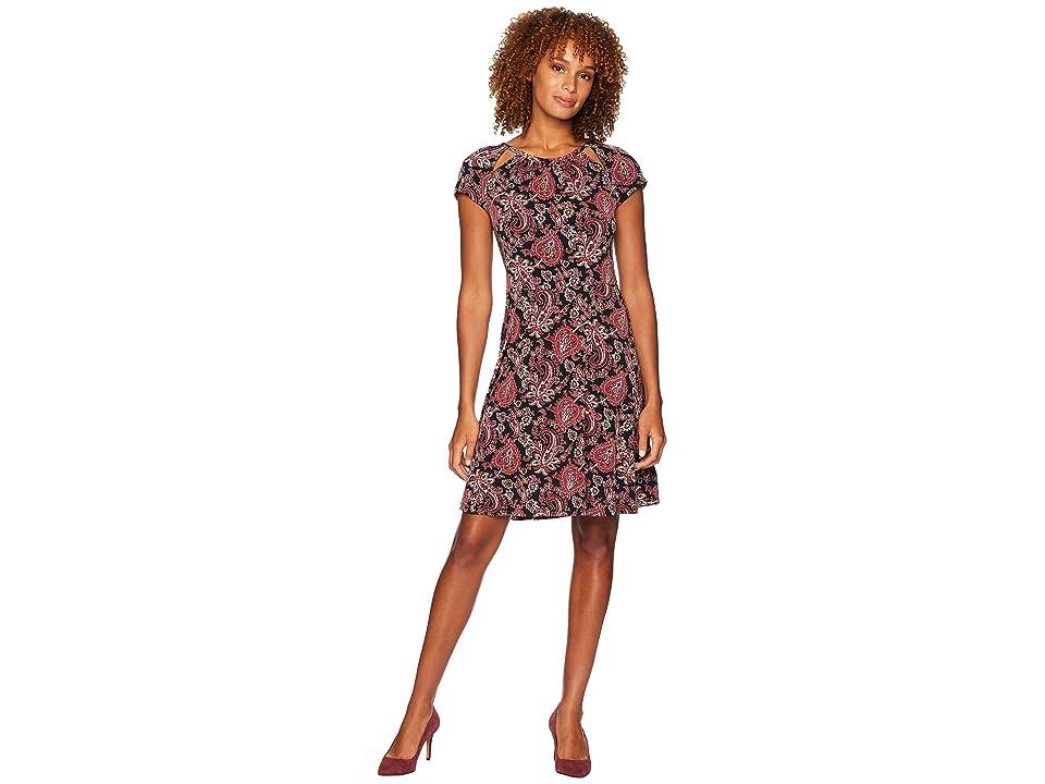 MICHAEL Michael Kors Sweetheart Paisley Dress (Black/Maroon) Women