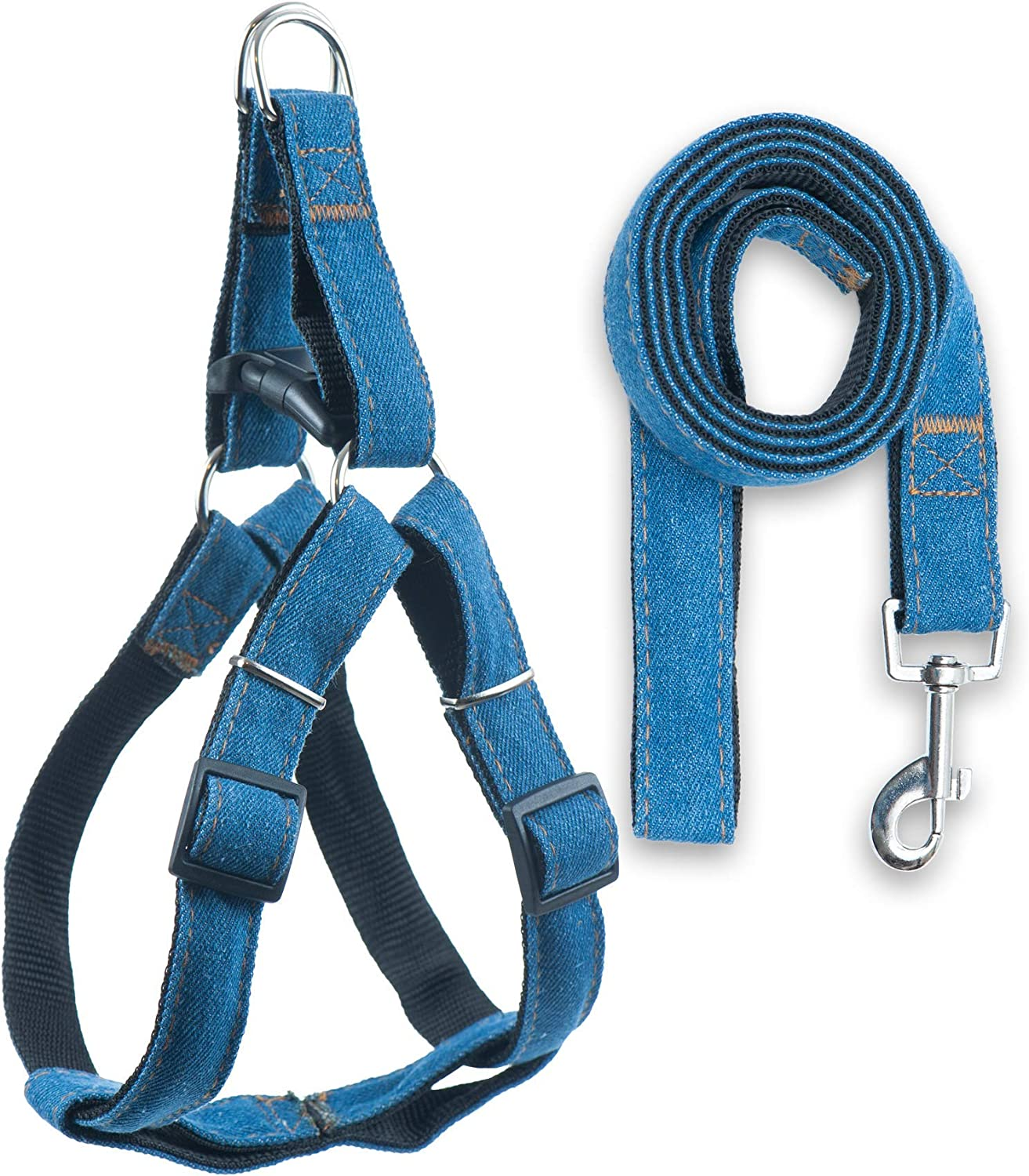 Bagoo Pets Denim Harness for Dogs. Sturdy Comfortable Fit & Performance for Small, Medium, and Large Dogs. Durable and Thick. Perfect for Walking, Running, Training (Large, Black)