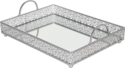 Giovanni Silver Mirror Top Serving Tray, Rectangular Metal Ornate Antique Accent Vanity Food Decorative Display Platter Dessert Cupcake Holder Food Snacks Wine Butler