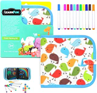 LearnFun Reusable Doodle Drawing Cloth Book with Color Pens | Erasable Painting Pad for Kids, Toddlers, Boys & Girls (Bird...