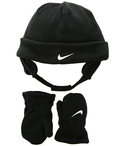 Nike Kids Swoosh Baby Fleece Cap Gloves Set (Infant/Toddler) (Black/White) Beanies