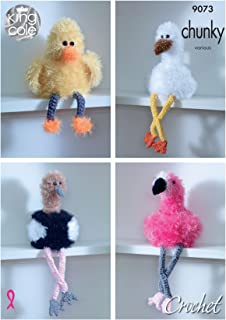 King Cole Tinsel Crochet Pattern for Bird Toilet Roll Holder - Flamingo Ostrich Stork or Duck (9073)