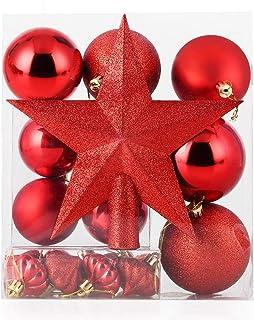 himaly 20pcs Bolas de Navidad Adornos Navideños para Arbol, Decoración de Bolas de Navidad Plástico de Rojo