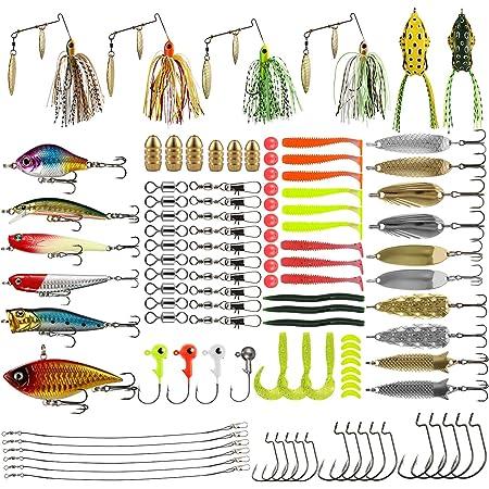 Magreel Fishing Lures Kit 110pcs/120pcs/262pcs Fish Baits Kit Set with Tackle Box Including Crankbaits Swimbaits Spinnerbaits Swivels Fishing Offset Hooks for Bass Trout Salmon