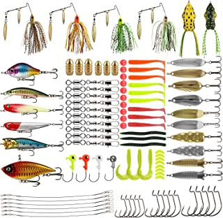 Magreel Fishing Lures Kit, 110pcs/262pcs Fish Baits Kit Set with Tackle Box Including Crankbaits Swimbaits Spinnerbaits Fishing Offset Hooks for Bass Trout Salmon