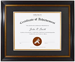Golden State Art, 11x14 Frame for 8x10 Diploma/Certificate, Black Gold & Burgundy Color. Includes Black Over Gold Double Mat and Real Glass