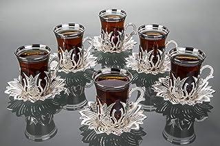 LaModaHome Service à thé argenté de 6 pièces – Comprend 6 verres, 6 soucoupes – Service spécial VIP Tulipes turques arabe...