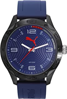 Puma Asphalt Men's Quartz Watch With Blue Dial Analogue Display and Blue Plastic Strap Pu104211002