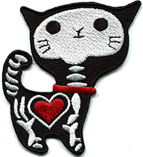 Black X-Ray cat kitten kitty retro bad luck punk goth creepy embroidered applique iron-on patch new