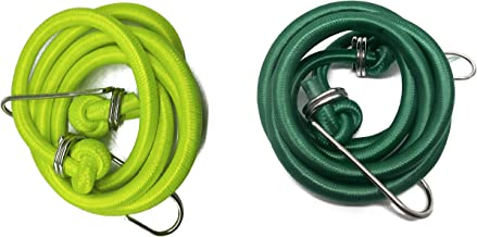 Genxtra® High Strength Elastic Neon Color Bungee Cords, Luggage Tying Rope with Hooks, Set of 2, 8 feet, Assorted Neon Color