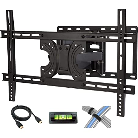Atlantic Full Motion TV Wall Mount - Dual Articulating Arm, Full Motion Design with 5 Degree up and 15 Degree Down tilt, 45 Degree L/R Swivel, for Flat Screen TVs 42-70 inch, Plus 6 Foot, PN63607151