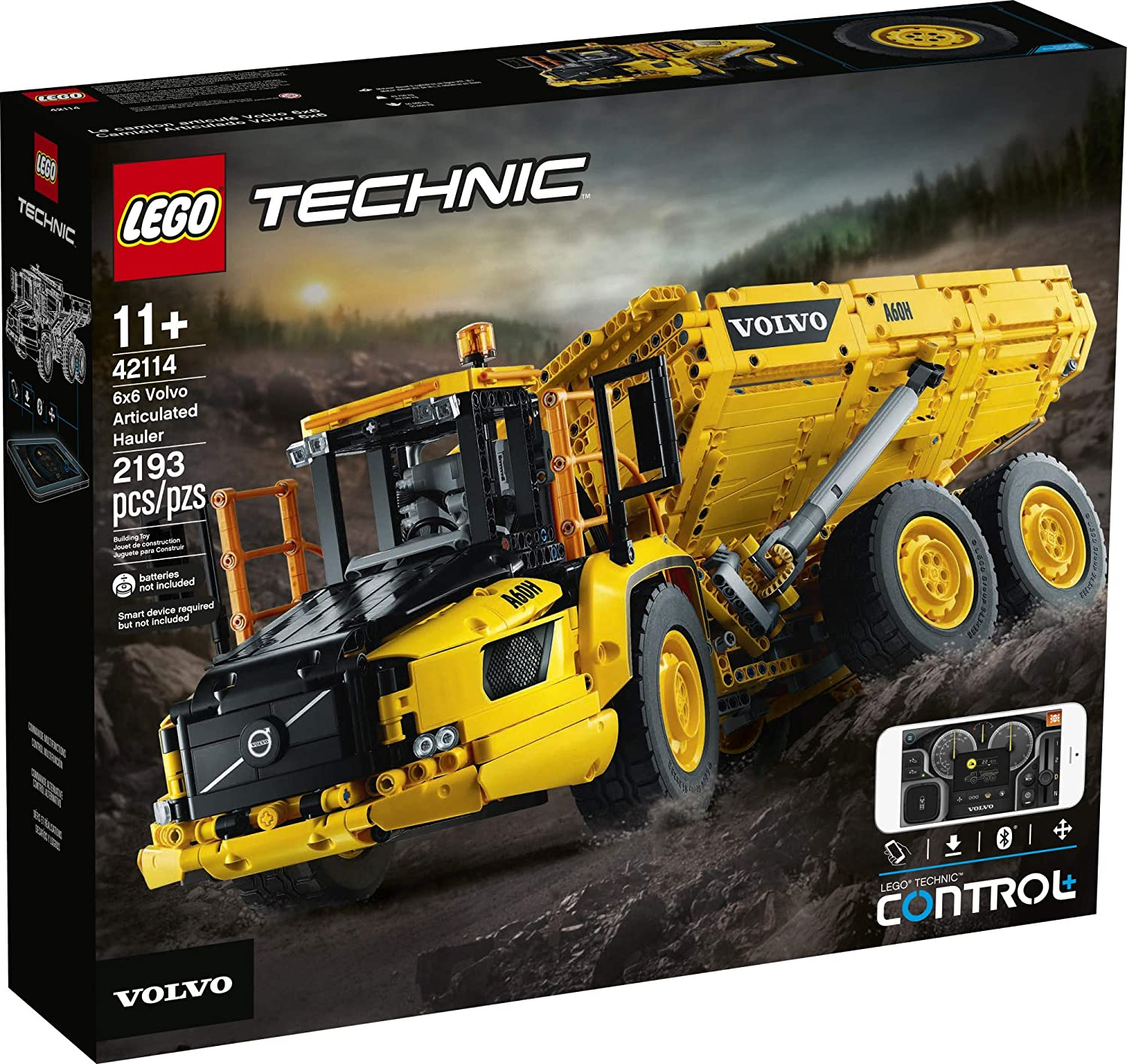 LEGO Technic 6x6 Volvo Articulated Hauler Building Kit 2,193 Pieces New 2020 42114 Volvo Truck Toy Model for Kids Who Love Construction Vehicle Playsets
