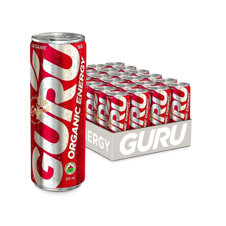 GURU | Orginal Plant-Based Energy Drink | Recharge with Good Energy from Green Tea | Natural & Organic Ingredients | Healthy Energy Drink to Help Stay Focused | Refreshing Taste | 12oz (Pack of 24)