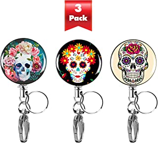 3-PK Decorative Retractable Badge Reel with Waterproof ID Holders & Key Rings. Steel Wire, Belt Clip & Metal Badge Clip. Great for Lanyards, Nurses, Teachers, Men & Women. Sugar Skulls