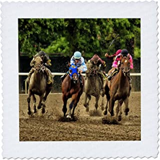 3dRose qs_98372_6 Horses and Jockeys Racing to Finish Line, Mud Flying-Quilt Square, 16 by 16-Inch