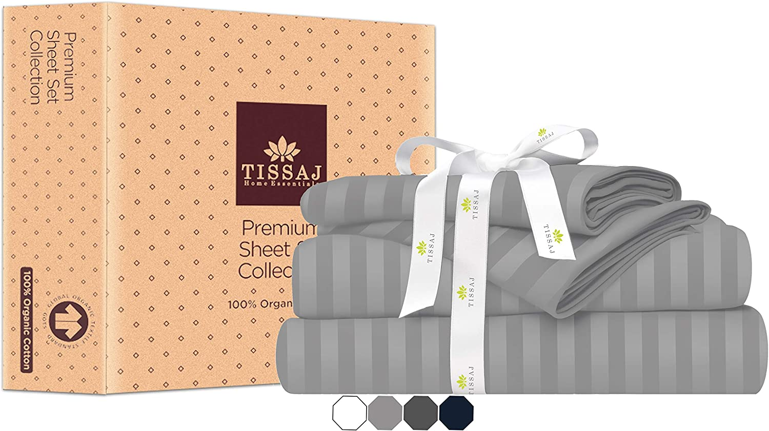 Tissaj Max 79% OFF Queen Size Bed Sheets Set Stripes Gray 100% GOT - Cloud New mail order