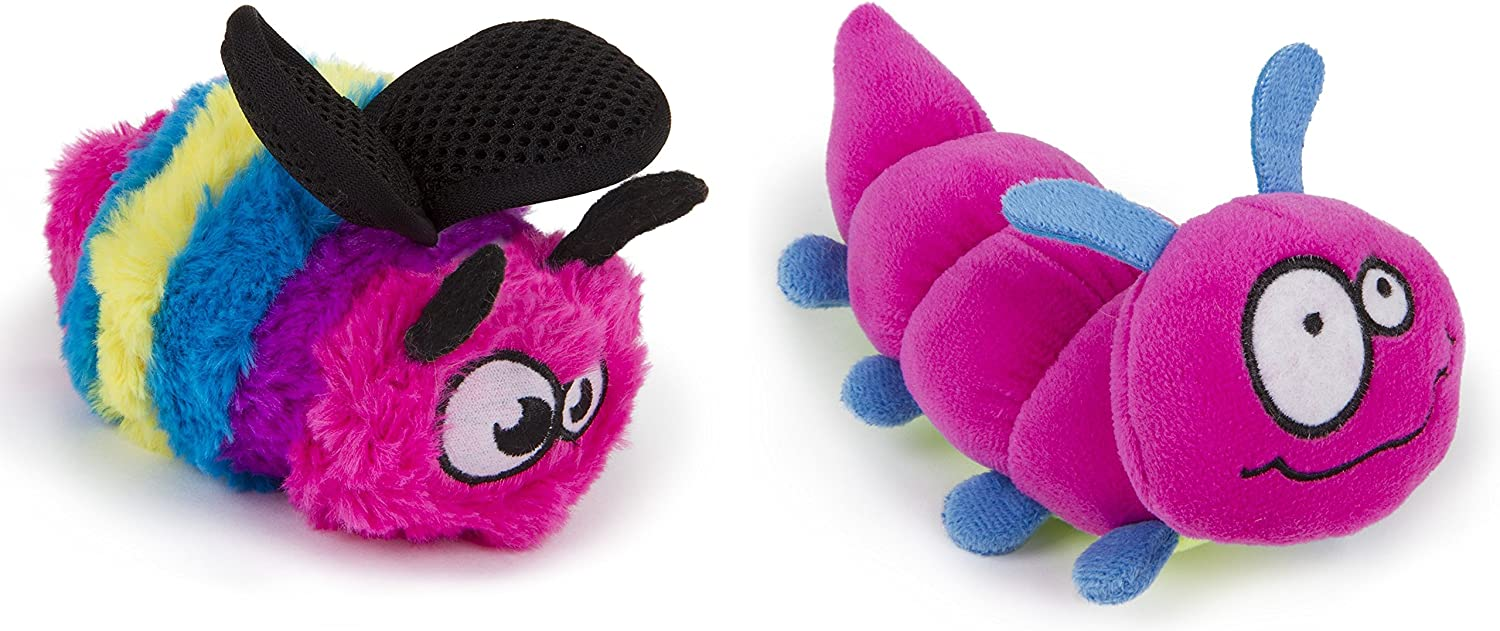 GoDog Bugs Bee and Caterpillar Plush Dog Toys with Chew Guard, Small