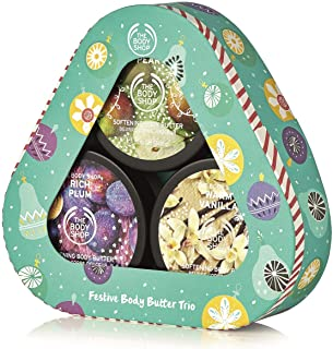 The Body Shop Body Butter Seasonal Trio Gift Set, Includes 3 Exclusive Holiday Scents, Juicy Pear, Warm Vanilla, & Rich Plum