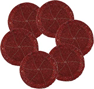 PARIJAT HANDICRAFT Handmade Indian Red Beaded Tea Coasters - 4 Inch Placemats for Teacups - Set of 6 Cup Coasters