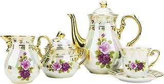 Majestic Porcelain CSL17, Porcelain 24K Gold-Plated Vintage Floral Dining Tea Set for 6, 15-Piece Set: 1 Tea Pot, 1 Creamer, 1 Sugar Bowl, 6 Cups and 6 Saucers