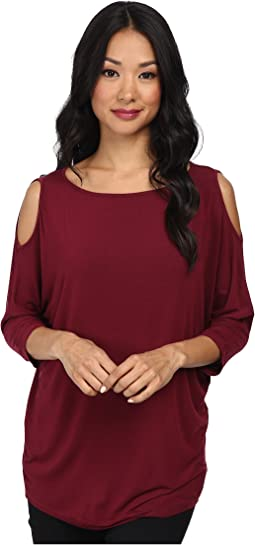 Michael Stars Lycra Jersey 3/4 Sleeve Cold Shoulder Tunic
