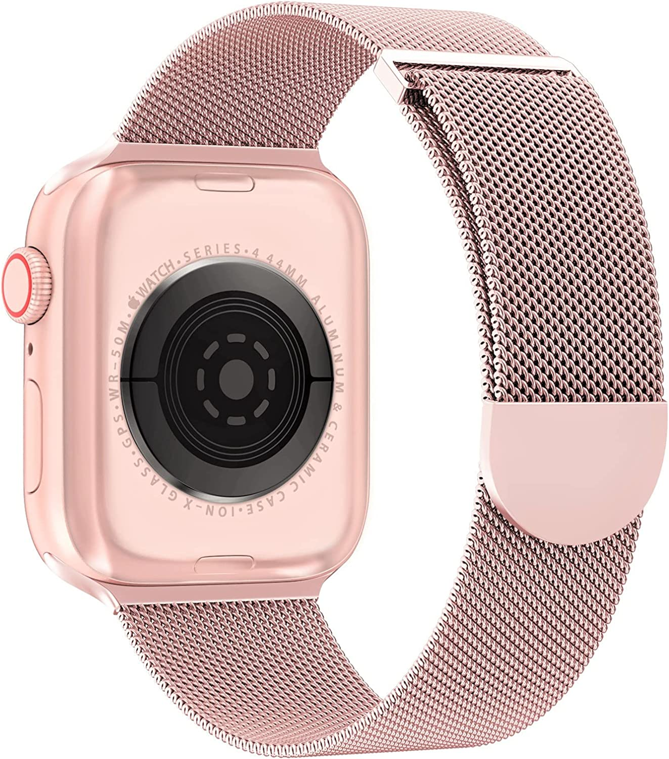 OULUOQI Compatible with Apple Watch Band 38mm 40mm 41mm 42mm 44mm 45mm Women and Men, Stainless Steel Mesh Loop Magnetic Clasp Replacement for iWatch Band Series SE 7 6 5 4 3 2 1 (38mm Rose Gold)