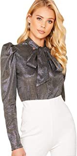 Milumia Women's Bow Tie Neck Puff Long Sleeve Shimmer Glitter Blouse Tops