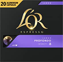L'Or Espresso Coffee Lungo Profondo - Intensity 8 - 200 Aluminium Capsules Compatible with Nespresso®* Machines (10x20 Pods Pack)