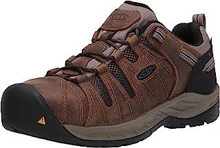 Men's Flint II Low Steel Toe Waterproof Non Slip Work Shoe Construction Shoe, Cascade Brown/Orion Blue