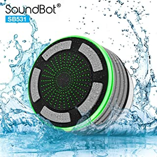 SoundBot IPX7 Waterproof 5W Bluetooth Wireless Shower Speaker with 8Hrs Playback, Built-in FM Radio Tuner, LED, Premium HD Sound, Water Weather Resistant Portable Speakerphone, SB531 (Grey)
