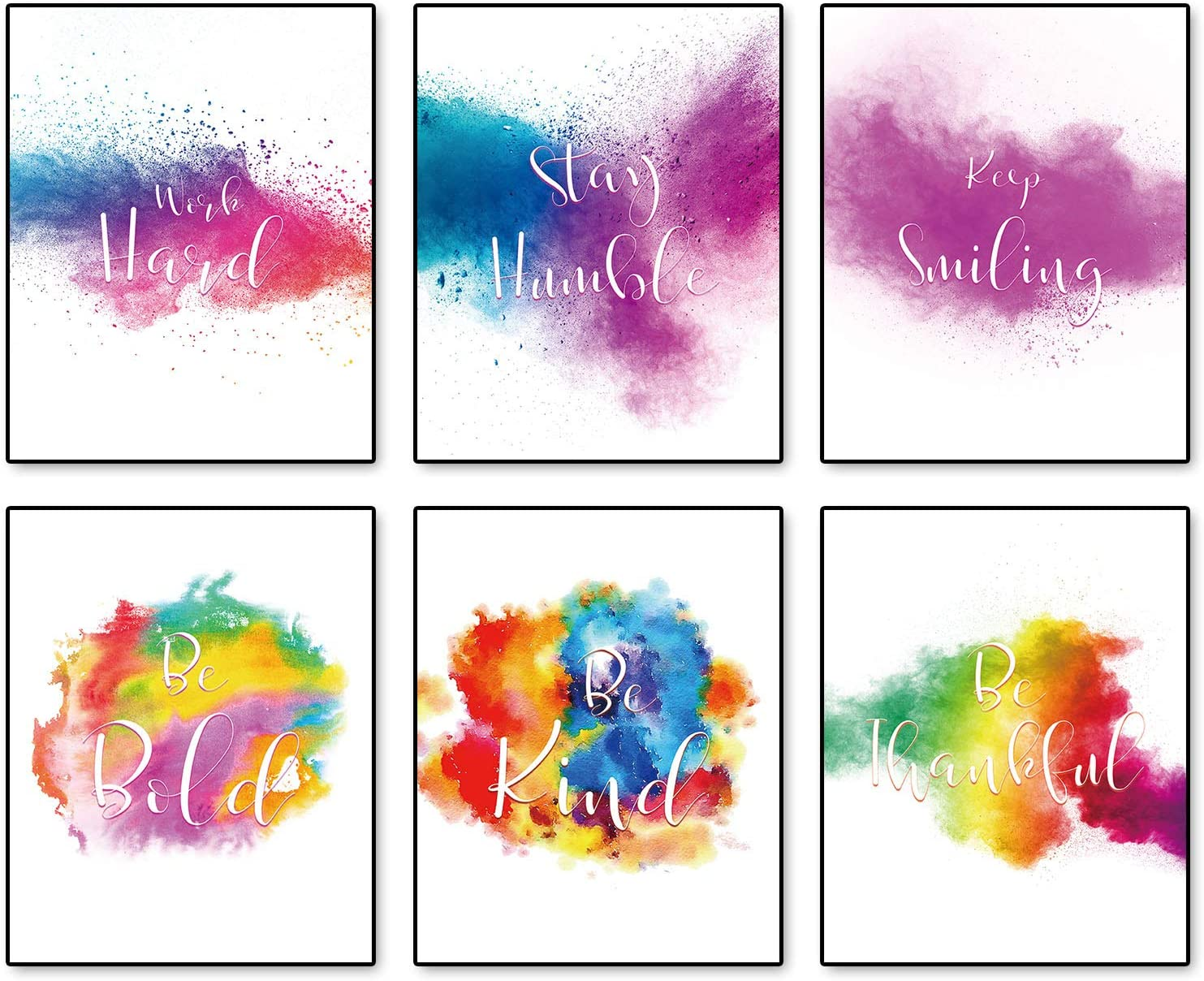 """Colorful Abstract Paint Graffiti Inspirational Motivational Poster Abstract Wall Art Prints Set of 6 (8""""X10""""Canvas Picture) Children Bedroom or Playroom Teen Room Classroom Office Home Decor No Frame"""