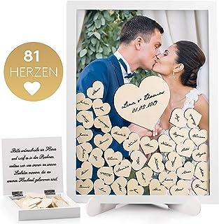 Fairytale Wedding © Gästebuch Hochzeit Holz inkl. 81 Herzen - Hochzeitsgästebuch mit Echtglas - Bilderrahmen zum Befüllen mit Holzherzen - Das Hochzeitsbuch Komplettset