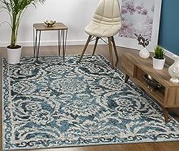 Antep Rugs Kashan King Collection Floral Polypropylene Indoor Area Rug (Blue/Cream, 5' x 7')