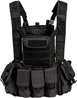 Akmax.cn Military Combat Assault Vest,Chest Rig,Ammo/Magzine Jacket with Belt and 6 x Pouches Black